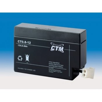 CT 12-0,8 (12V; 0,8Ah; konektor AMP; životnost 5let)