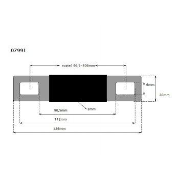 CTM Flachverbinder 70/120/150 rozteč 96,5-106mm - rozměry