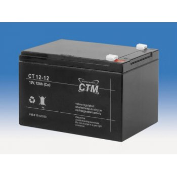 CT 12-12L (12V; 12Ah; faston F2-6,3mm; životnost 5let)