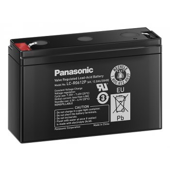 Panasonic LC-R0612P (6V; 12Ah; faston 4,7mm; životnost 6-9let) SLA