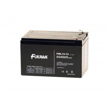 FUKAWA FWL 12-12 (12V; 12Ah; faston F2-6,3mm; životnost 10let)