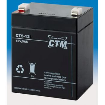 CT 12-5 (12V; 5Ah; faston F1-4,7mm; životnost 5let)