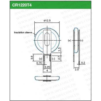 Maxell CR 1220 T4 Lithiová knoflíková baterie 3V s vývody
