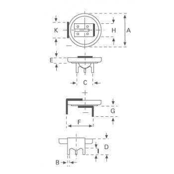 Varta CR 2032 PCB 3 Lithiová knoflíková baterie 3V - piny