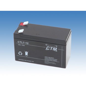 CTL 12-7L (12V; 7Ah; faston F2-6,3mm; životnost 10-12let)